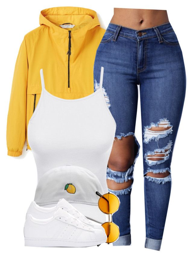 """""""I was served lemons, but I made lemonade."""" by cheerstostyle ❤ liked on Polyvore featuring MANGO, LE3NO and adidas Originals"""