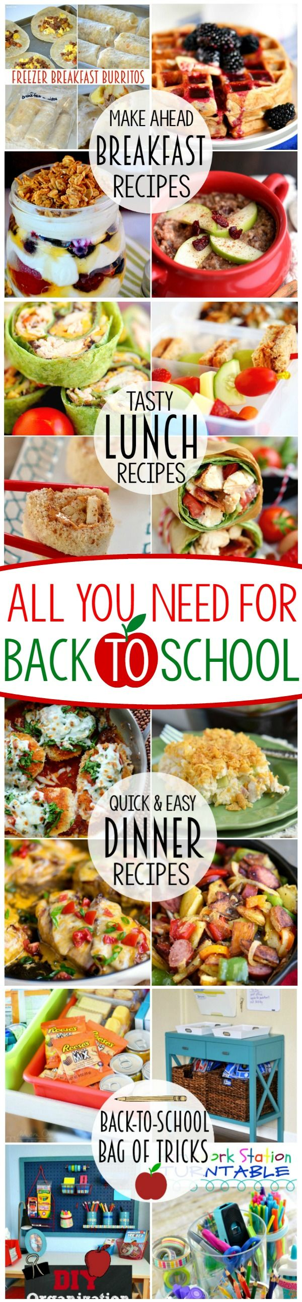 Everything you need for a successful back-to-school experience! Make ahead breakfast recipes, tasty lunch ideas, quick and easy dinners PLUS my favorite Back To School Mom Hacks!: