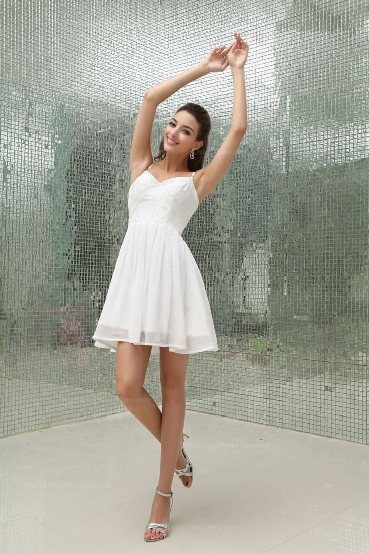 Spaghetti Straps Short Length Chiffon Dress With Beading Decoration  Read More:     http://www.weddingsred.com/index.php?r=spaghetti-straps-short-length-chiffon-dress-with-beading-decoration-chgeno.html