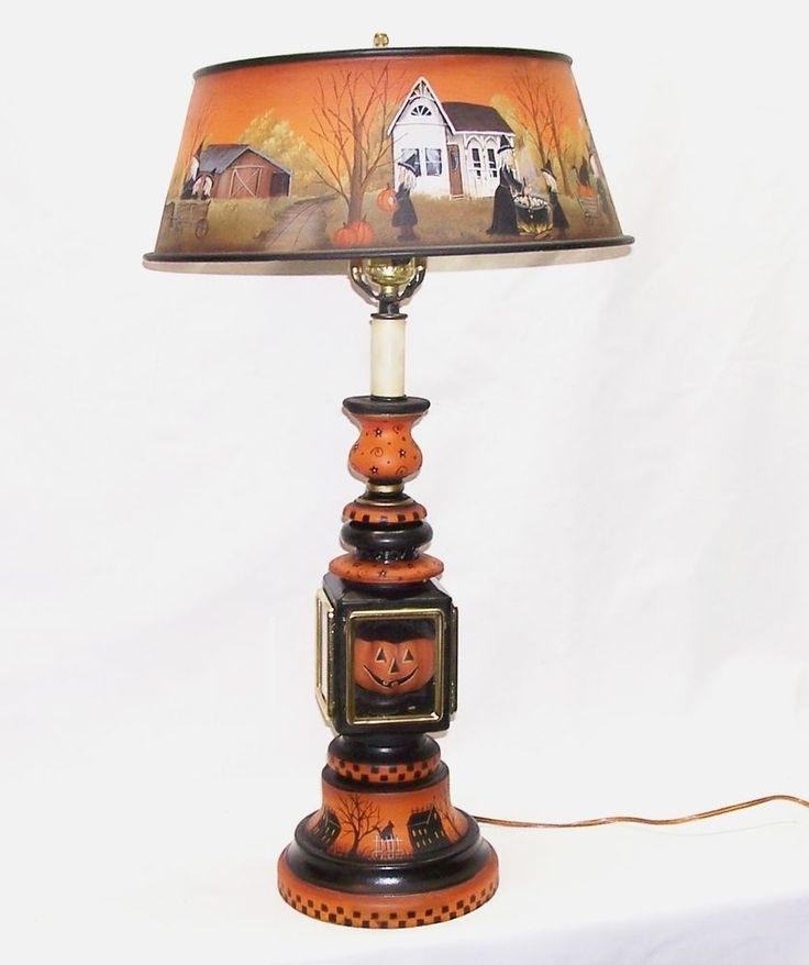 79 best painted lampslampshades images on pinterest vintage lg table lamp metal shade carriage lamp halloween witch primitive folk art rjpe aloadofball Images