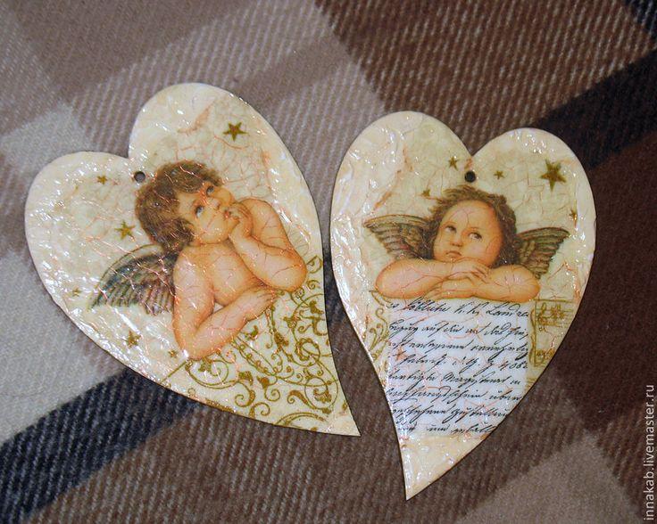 Купить Ангельское сердце - бежевый, сердце, украшение для интерьера, украшения ручной работы, старение