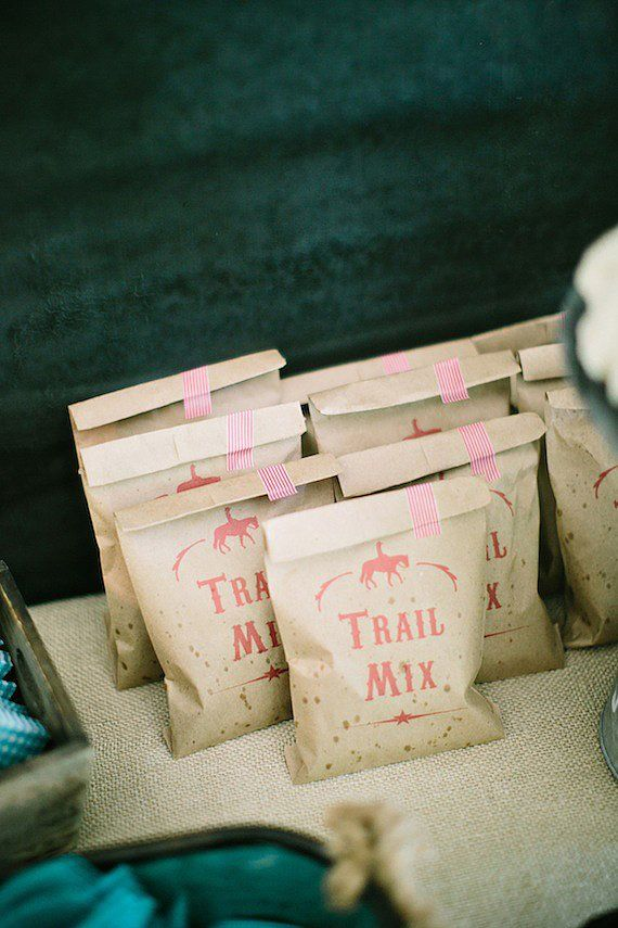 Six Pence Press created the adorable trail mix bags.  Source: Jennifer Laura Design