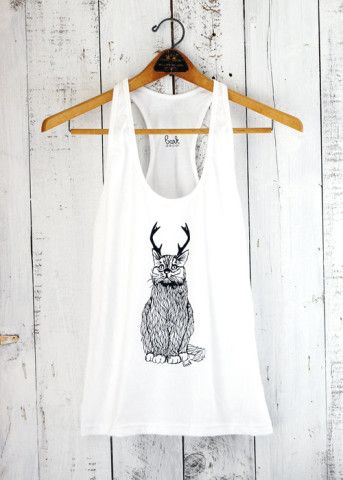 The Original Wild Cat-a-lope - funny cat antlers white jersey racer back tank top- by Bark Decor as seen on Animal Planet