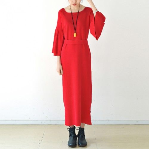 Trumpet sleeves red tunic dresses long red knit dress square neck plus size sweaters original designThis unique deisgn deserves the best quality texture. The fabric of this article is soft, comfortable and breathy.Flattering cut. Makes you look slimmer and matches easlily with jeans, leggings stylish pants or skirts. Measurement: One Size: bust 130cm / 50.7