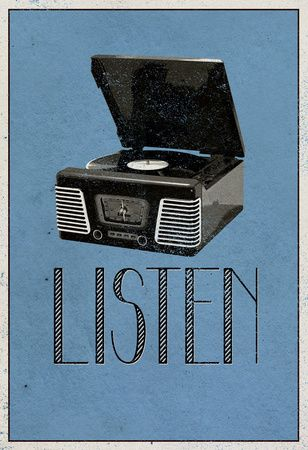 Listen Retro Record Player Art Poster Print Poster at AllPosters.com
