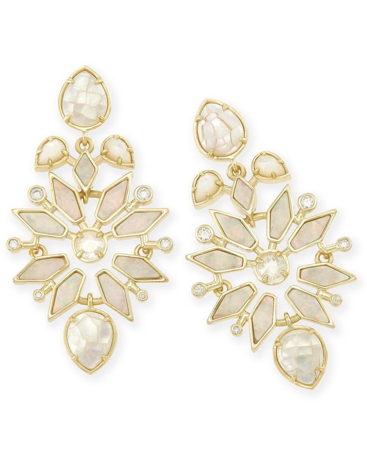 aurilla statement earrings in ivory zellige