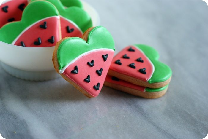 I heart watermelon...not really. ::: watermelon flavored & decorated cut-out cookies
