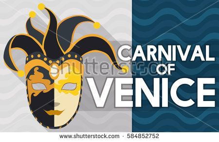 Banner with a volto mask in harlequin design and jingle bells in flat style and long shadow effect and wave pattern for Carnival of Venice promotion.