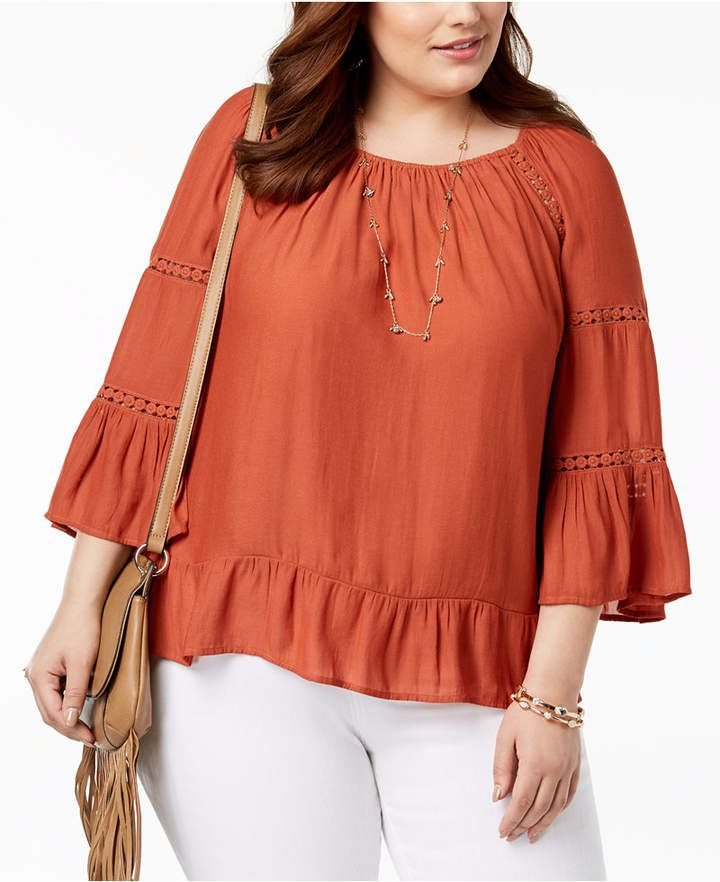 I-N-C Womens Sculpted Ruffle Pullover Blouse