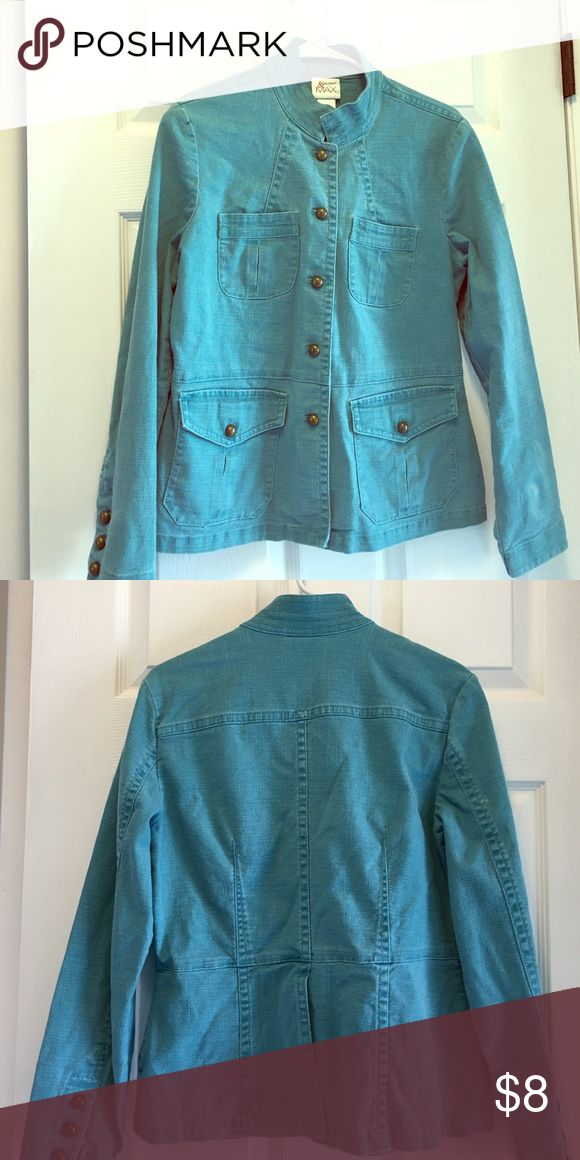 Cute turquoise jean jacket Button up turquoise jacket madison & max Jackets & Coats Jean Jackets