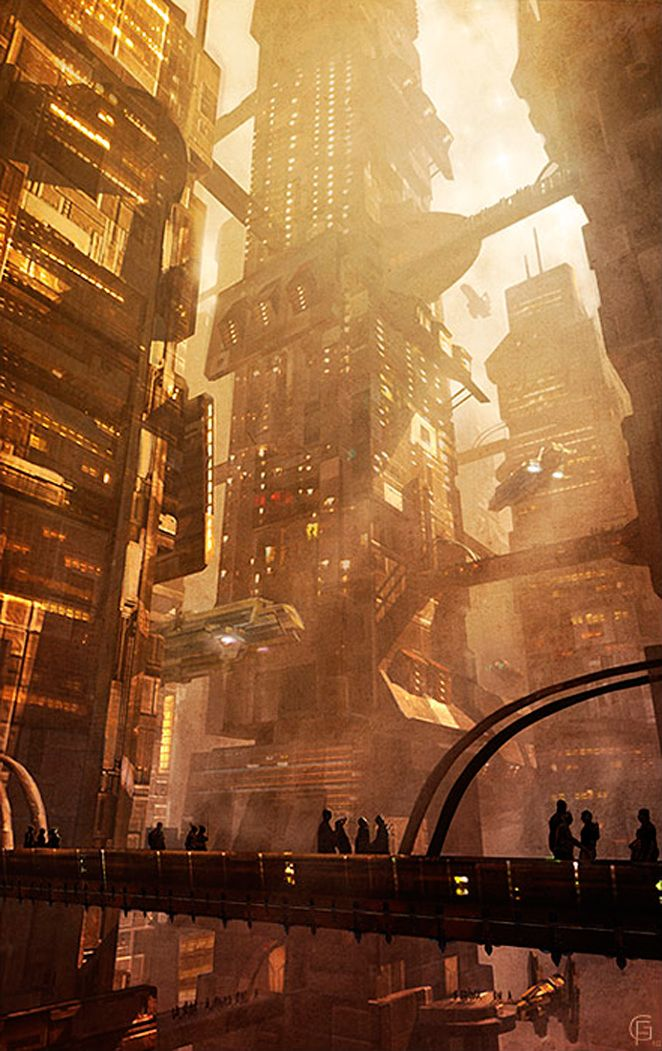This is an image of a city with some sort of skyscraper in it which I like due to how close they are together, I feel that this gives it that futuristic feel.