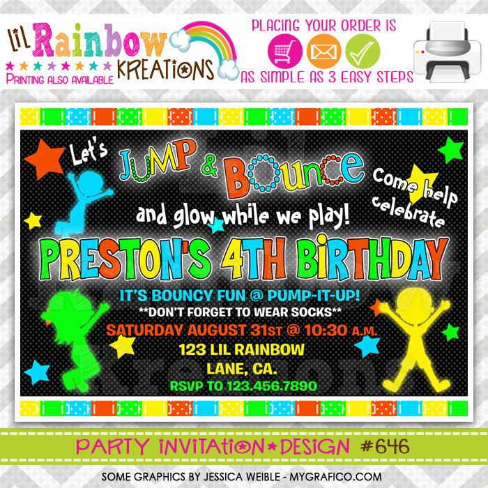 34 best invitations images – Pump It Up Party Invitations