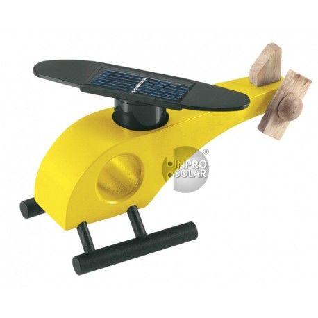 Elicopter din lemn cu motoras solar. Ideal pentru decor sau poate fi folosit cu scop educativ.Functioneaza cu lumina solara sau halogen.Culoare galben.