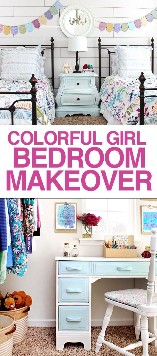 Cheery and bright girl bedroom makeover! LOVE the quilt and planked wall look.