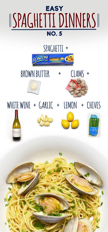 Espagueti con mantequilla marrón y almejas | 19 cenas divertidas y fáciles con espagueti