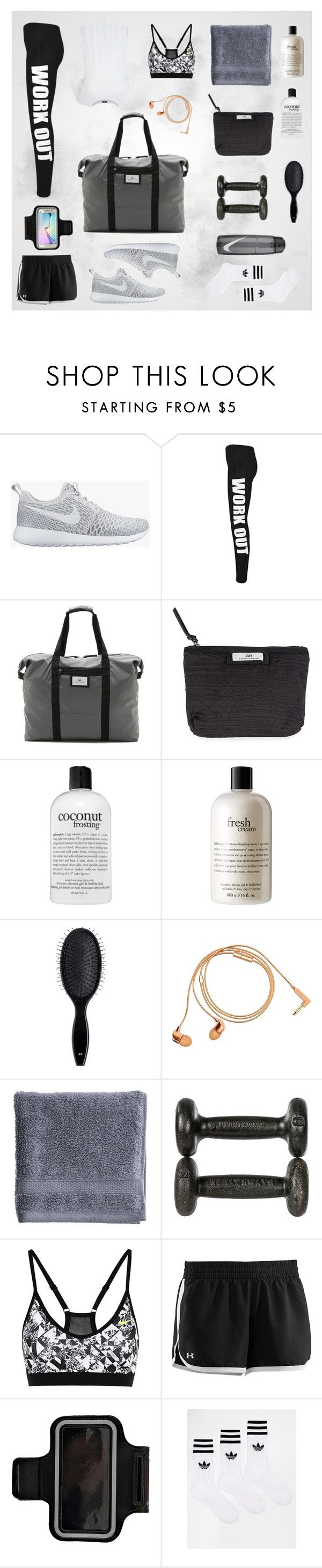 """w o r k   o u t"" by emelietegebo on Polyvore featuring NIKE, WearAll, DAY Birger et Mikkelsen, philosophy, H&M, Happy Plugs, Biltmore, Under Armour, Boohoo and Samsung"