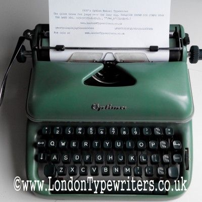 1950's Optima Vintage Manual Typewriter. This is a fairly rare machine because it was produced in East Germany and also it is in an unusual colour - brighter green. It types like a charm! For sale at www.LondonTypewriters.co.uk #londontypewriters #typewriter #green #1950s #vintage #vintagesale #retro #german #gdrdesign #gdr #collectable #cool #literature #weddingidea #vintagedecor #rare #london #uk #optima
