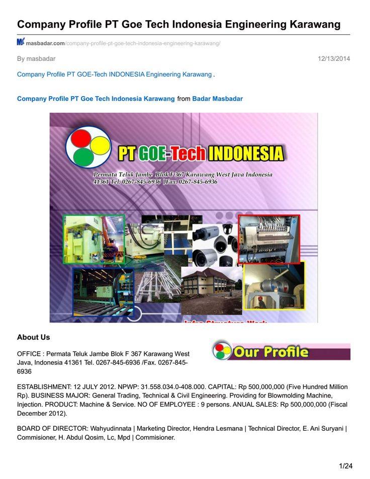 Masbadar com company profile pt goe tech indonesia engineering karawang