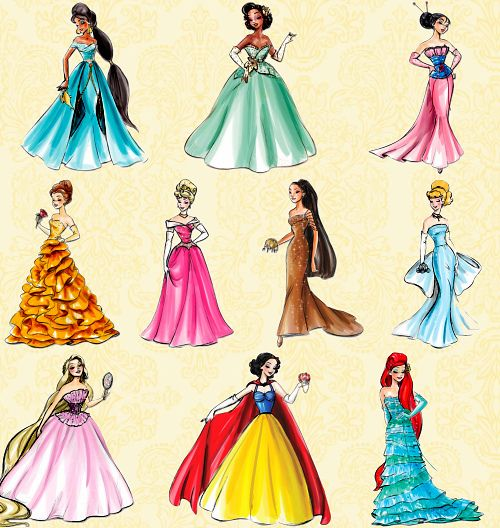 Found on The Disney Princess Tumblr  Posted to Disney Princess Designer Collection: Dress Inspirations, Graphics, & Fan Art