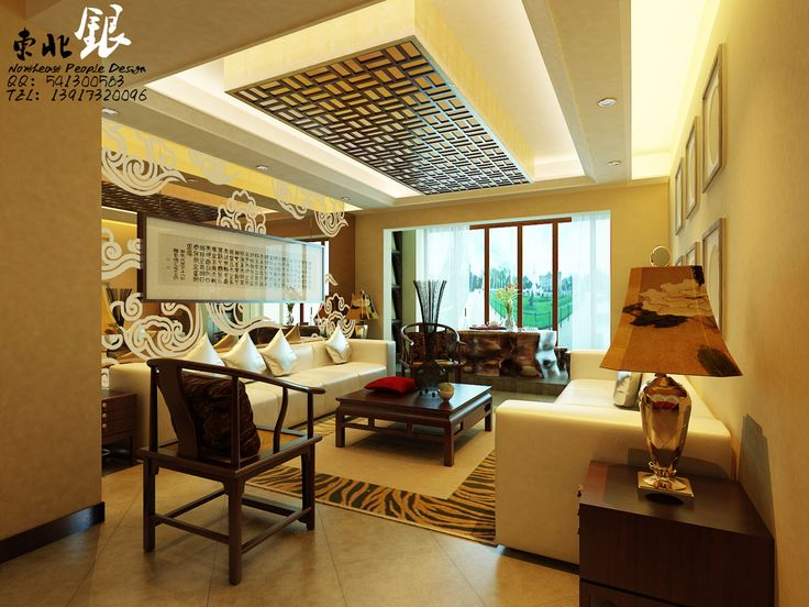 Modern ceiling lighting for chinese living room interior with white leather sofa
