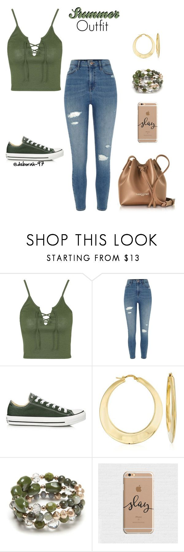 """Summer Outfit #6"" by deborah-97 ❤ liked on Polyvore featuring Topshop, River Island, Converse, Ross-Simons, New Directions and Lancaster"