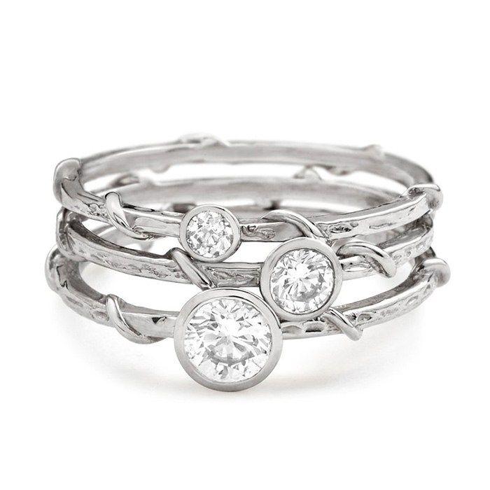 Popular Platinum Wedding Jewelry Trends: #9. Platinum Vine Stack Ring; #weddingring; #engagementring;