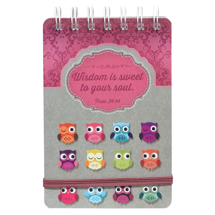 "Wirebound Notepad Owl, Wisdom Is Sweet  Prov 24:14 Owls  Whimsical owls and Scripture quote on wisdom, trim a pretty array of gifts in our Wisdom of the Soul Collection. Hot pink and tan with bright color owls in top trending Christian gift design.  Wirebound notebook with elastic band closure and 80 lined pages. 4"" x 6"".  Wisdom is sweet to your soul. Proverbs 24:14.  PRICE: R50 per Notebook."
