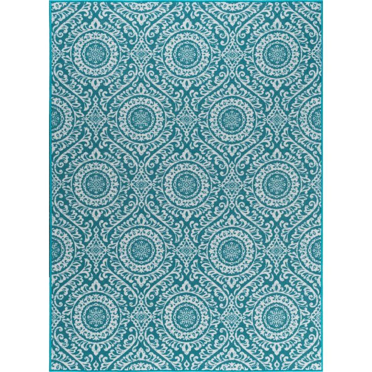 Majesty Teal (Blue) 7 ft. 6 in. x 9 ft. 10 in. Transitional Area Rug
