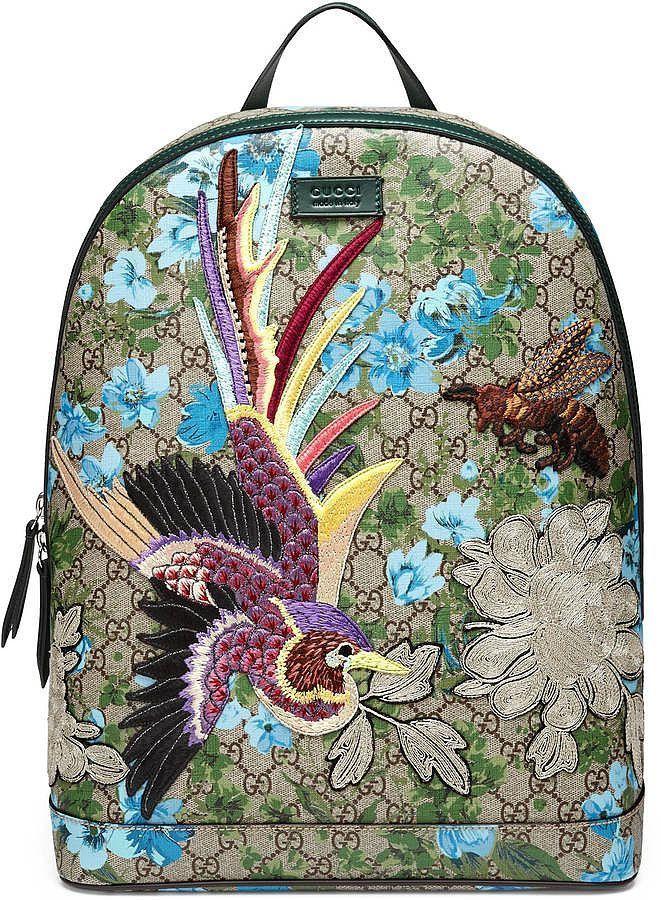 This isn't your childhood backpack: Gucci XL GG Floral-Print Backpack ($2,490) - ladies purse brands, handbag stores, handbag sale *sponsored https://www.pinterest.com/purses_handbags/ https://www.pinterest.com/explore/hand-bags/ https://www.pinterest.com/purses_handbags/designer-handbags/ http://www.zappos.com/bags