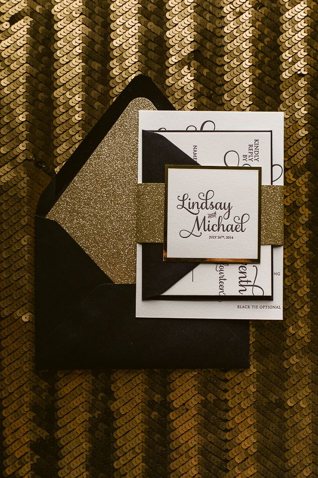 Black and Gold Black Tie Wedding Invitations