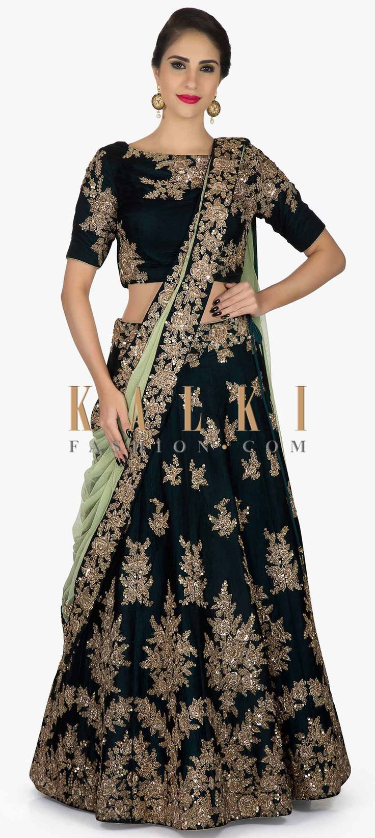 Bottle green lehenga in silk with Pista Green Dupatta Elevated in Zari and Sequins only on Kalki