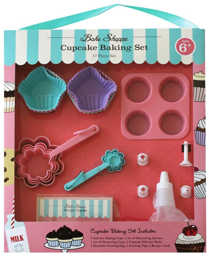 Bust the Summertime Boredom blues in the kitchen with this Bake Shoppe Kids 17-piece Cupcake Baking Set from Handstand Kids. Keeps kids creating, having fun and away from technology!
