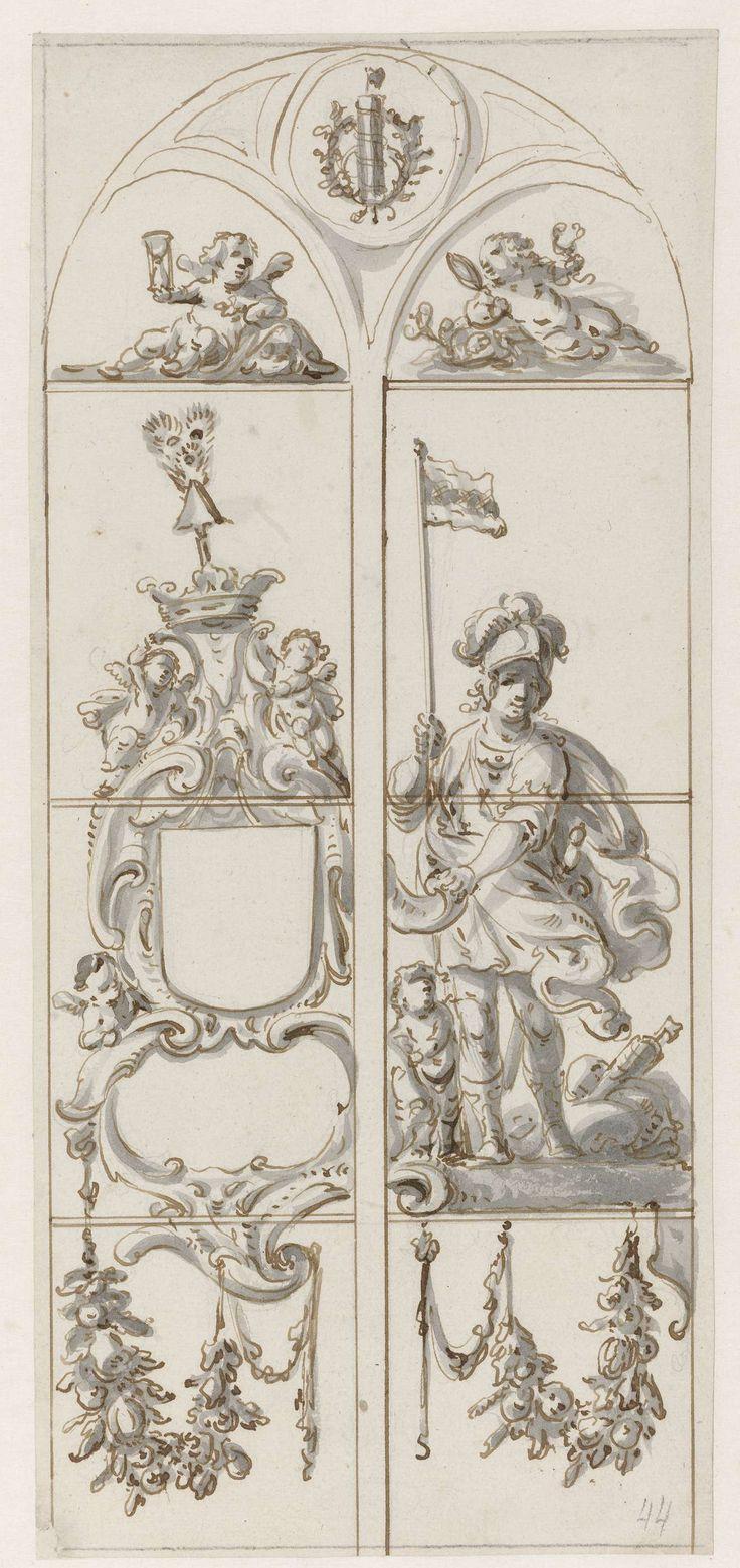 Pieter Jansz | Ontwerp voor een glasraam met een soldaat met een vaandel, Pieter Jansz, 1630 - 1672 | Ontwerp voor een glasraam met links een open wapenschild en rechts een Romeinse soldaat met een kind aan zijn voeten en met een vaandel waarop het wapen van Amsterdam staat. Linksboven een putto met een zandloper; rechts boven een putto met een spiegel en een slang. Bovenaan een pijlenbundel in een lauwerkrans.