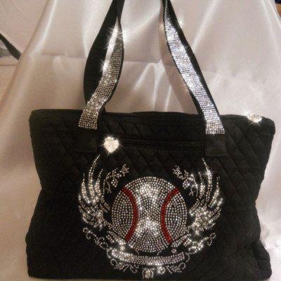 Baseball Rhinestone Tote Bag by AndMoreSportsApparel on Etsy, $45.00