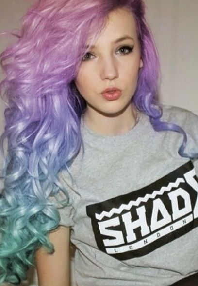 Pink, purple and blue ombre hair