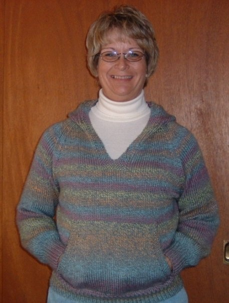 """Me, wearing my """"Wonderful Wallaby"""" sweater I knitted."""