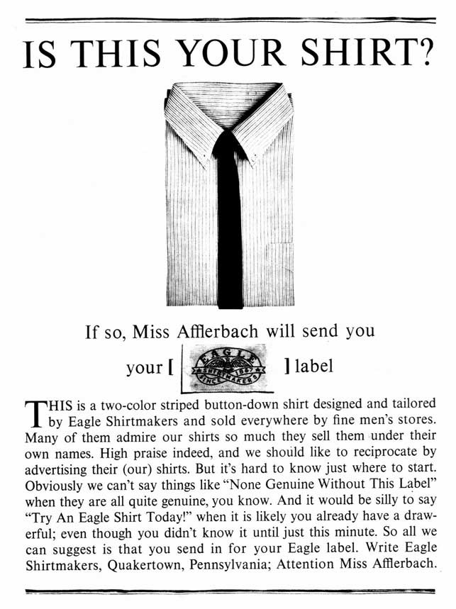 """Is This Your Shirt?"" Ad for Eagle Shirtmakers by Howard Luck Gossage"