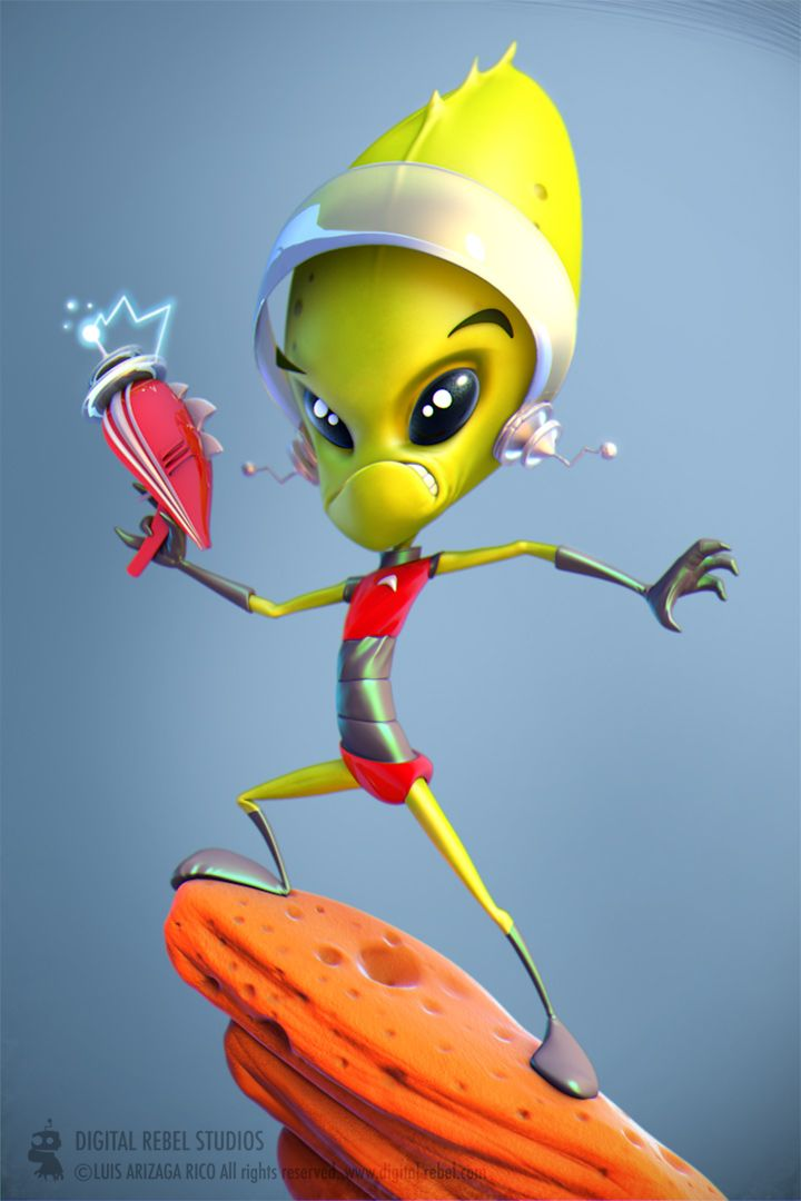 I like this character as it is much like a very stereotypical alien with the big head, eyes and the slim body