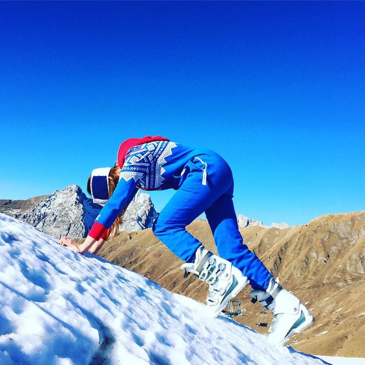 @maiteblanchet is at the top of the Grand-Bornand - France. She's wearing the Marius Jumpsuit