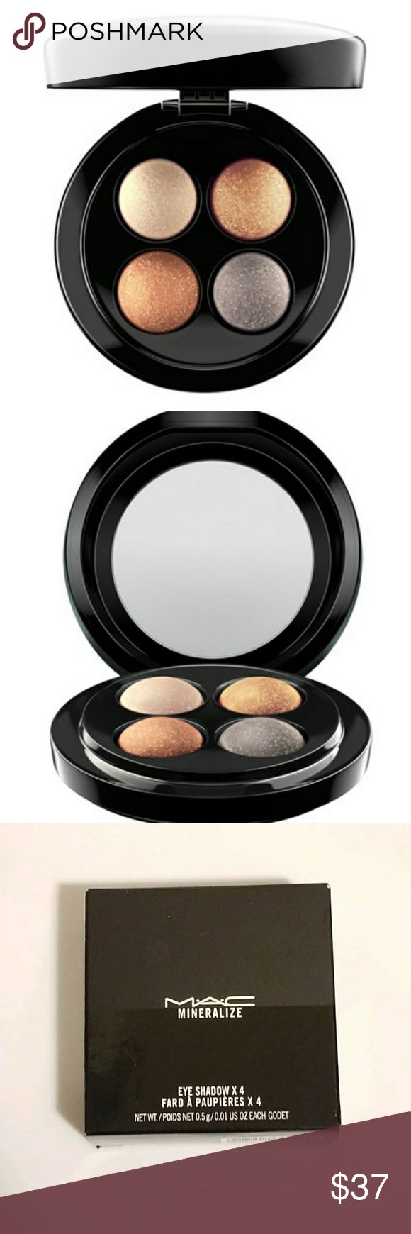 MAC Cosmetics MineralizeEye Shadow Palette A powder formula of refined baked mineral eye shadows that provides ultra-lightweight pigment.  - Included 4 coordinated colors - Dermatologist tested - Ophthalmologist tested - Non-acnegenic - Safe for contact lens wearers - Can be used wet or dry - Features a lightweight formula - Features a 77-Mineral Complex - Instantly nourishing - 0.5 g / 0.01 US oz each MAC Cosmetics Makeup Eyeshadow