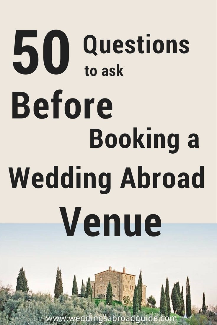 Questions to ask your wedding venue plus printable checklist - specifically for a destination wedding abroad http://www.weddingsabroadguide.com/wedding-abroad-venue.html