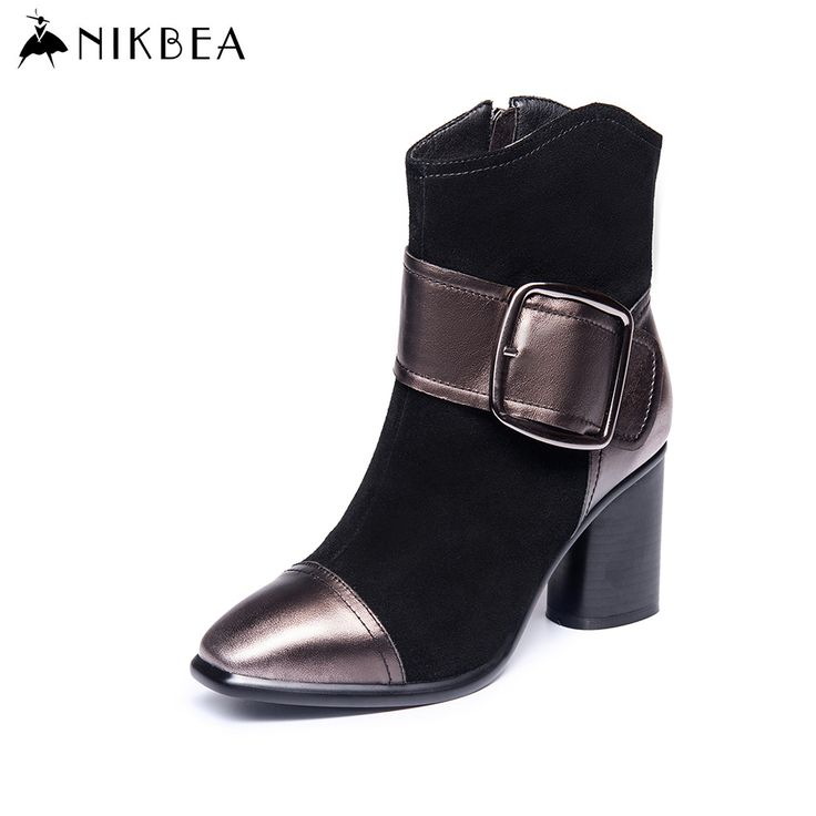 Find More Women's Boots Information about Nikbea Handmade Brand Genuine Leather Ankle Boots for Women Large Size Fashion High Heels Suede Botines Mujer 2016 Autumn Winter,High Quality leather fashion boots,China boots massage Suppliers, Cheap boots long from nikbea on Aliexpress.com