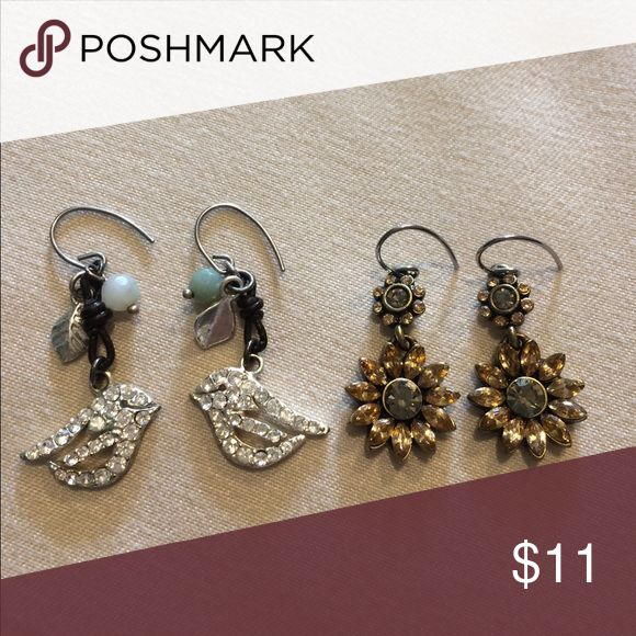 Fossil earrings Two pair of fossil earrings-cute birdies with a feather and sunflowers. Both are in perfect condition! Fossil Jewelry Earrings