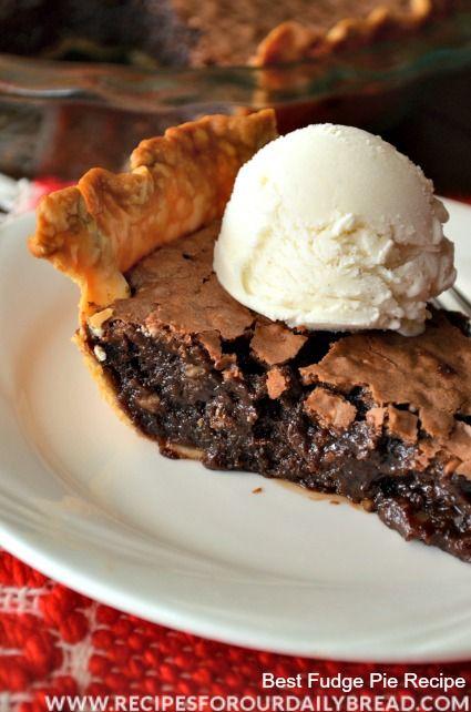 Best Fudge Pie - YUM! - Hands down my favorite pie!  Creamy, dreamy, chocolaty.   http://recipesforourdailybread.com/2013/11/09/best-chocolate-fudge-pie-yum/  #chocolate #pie #chocolatepie