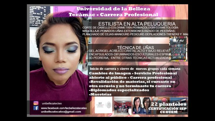 carrera de belleza Tecámac https://www.facebook.com/tecbellezatecateo Cel y WhatsApp: 5575430104 unibellezatecateo@gmail.com https://www.webselitemx.com/escu...
