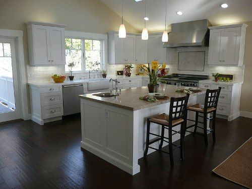 L Shaped Kitchen with Island with White Kitchen Cabinets