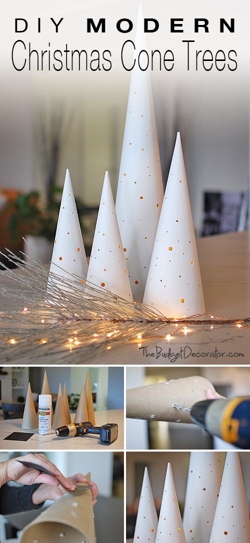 Do It Yourself • Modern Christmas Cone Trees • Make these Christmas cone trees with lights for a glam take on holiday decor!