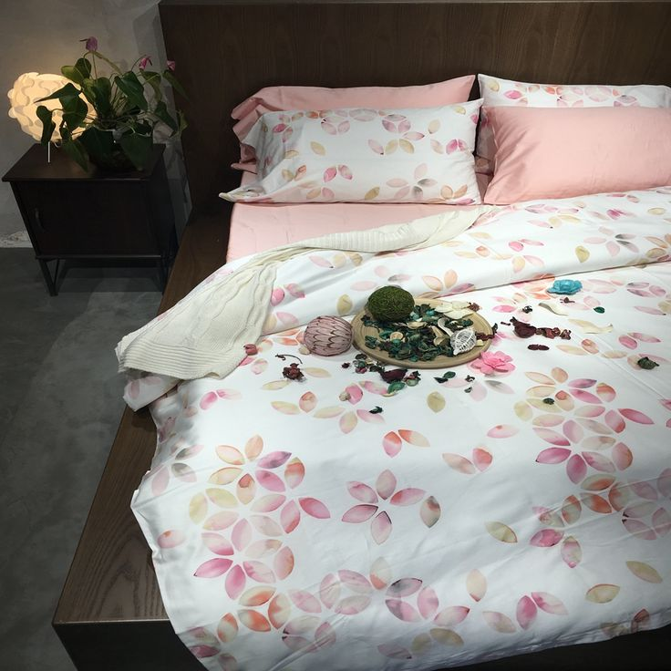 ==> [Free Shipping] Buy Best Sweet pink designer bedding set queen king size soft Egyptian cotton leaves print duvet cover elegant bed sheet pillow covers Online with LOWEST Price | 32807090700