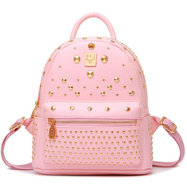 Chicnova Fashion Punk Style Studded Backpack (96 SAR) ❤ liked on Polyvore featuring bags, backpacks, fake leather backpack, studded bag, pink bag, vegan bags and pink faux leather backpack
