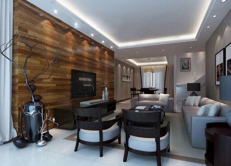 Solid Wood Tv Wall Design Living Room Hidden Ceiling Lamps - wood wall living room